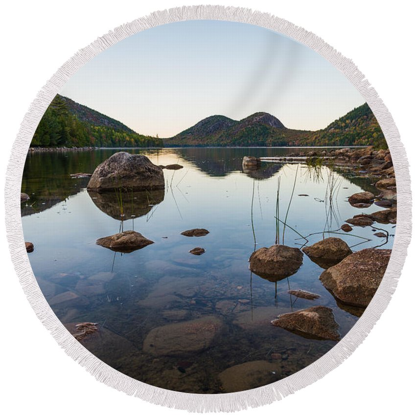 Acadia Round Beach Towel featuring the photograph On The Pond by Kristopher Schoenleber