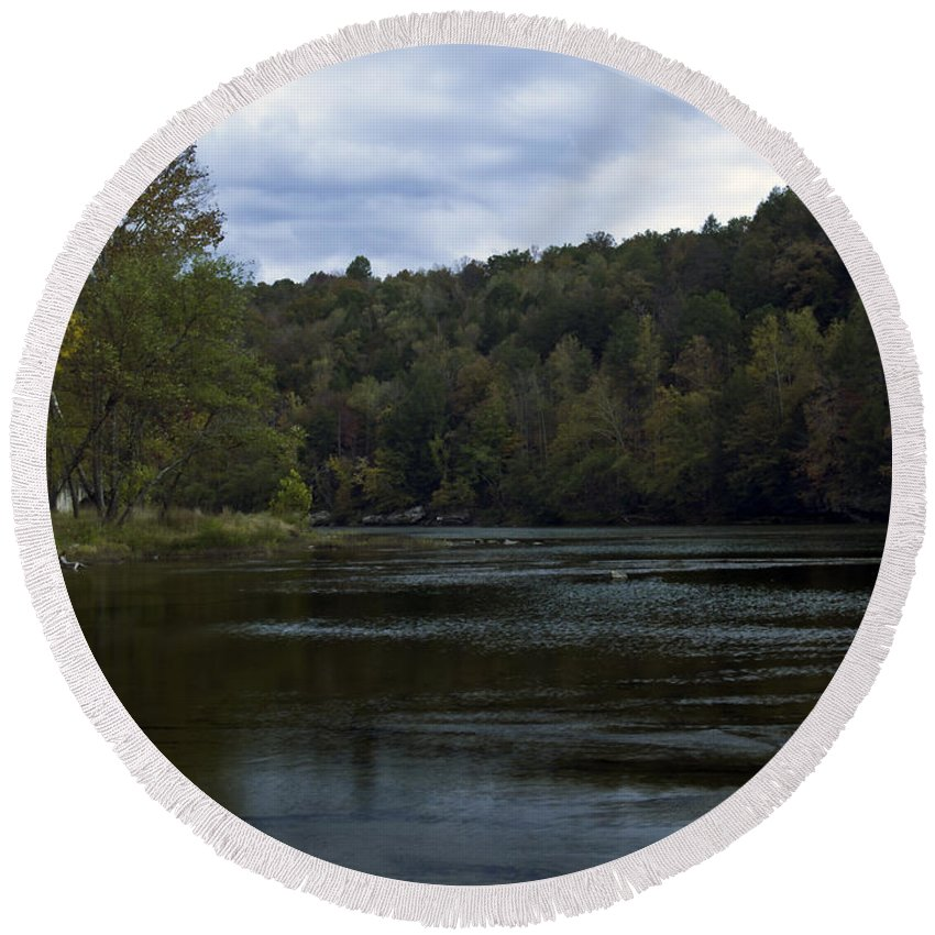 Rural Round Beach Towel featuring the photograph On The River Three by Ken Frischkorn