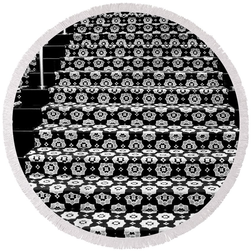 Riviera Hotel Round Beach Towel featuring the photograph On The Riviera Stairs Palm Springs by William Dey