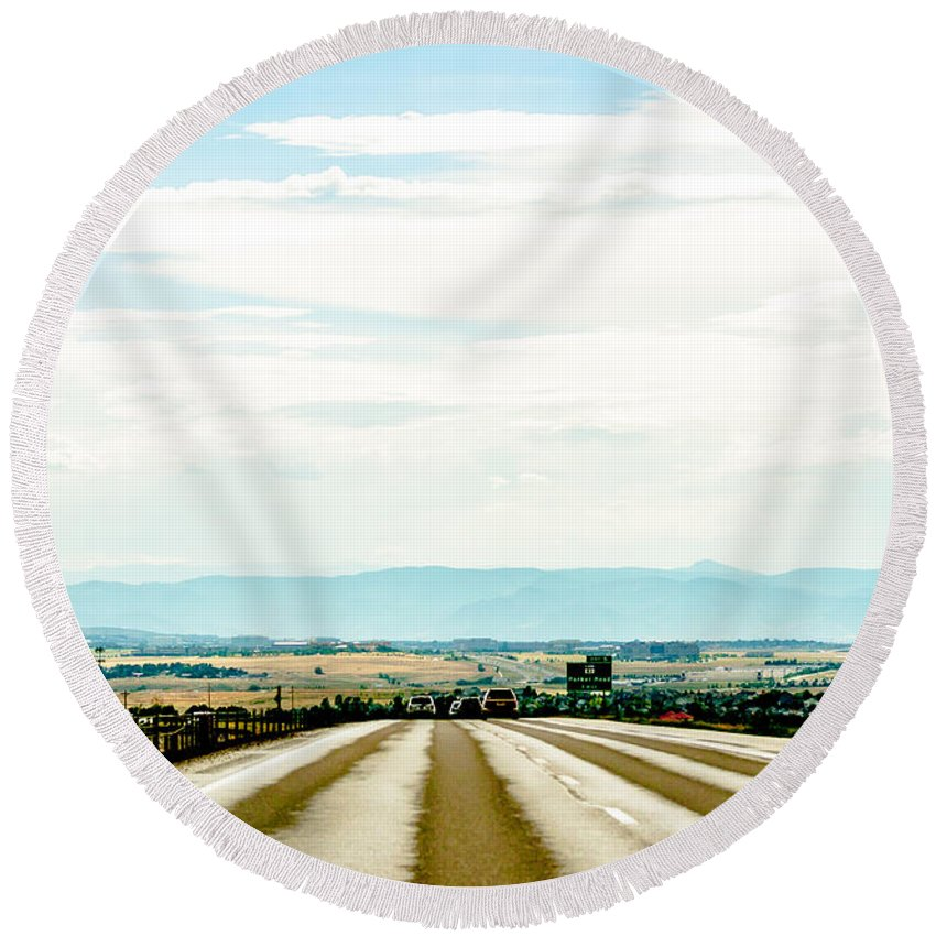 Road Round Beach Towel featuring the photograph On The Road Again by Amel Dizdarevic