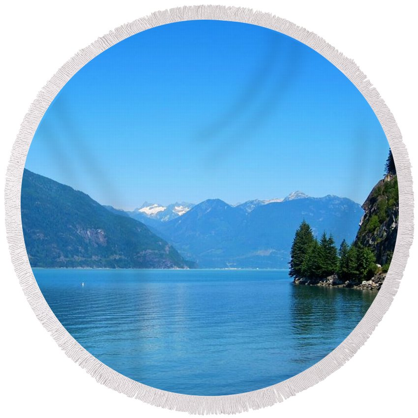 Porteau Cove Round Beach Towel featuring the photograph On The Road To Whistler by Lena Photo Art