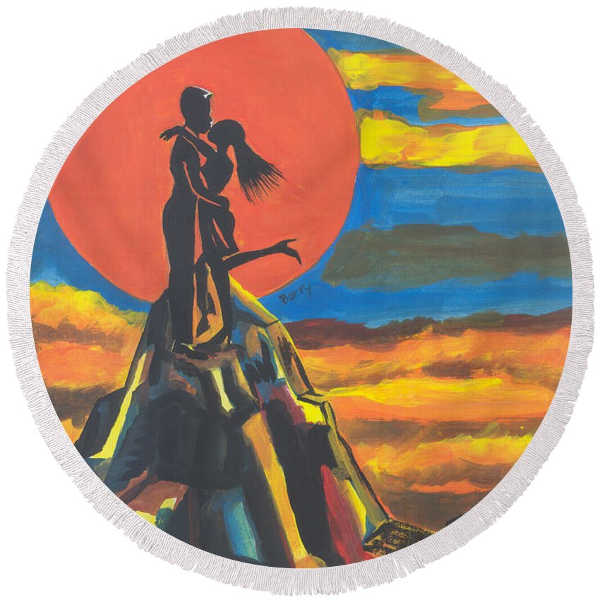 Art Round Beach Towel featuring the painting On The Summit Of Love by Emmanuel Baliyanga