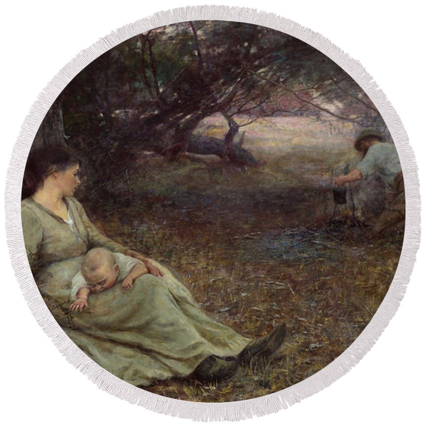 Frederick Mccubbin Round Beach Towel featuring the painting On the wallaby track by Frederick McCubbin
