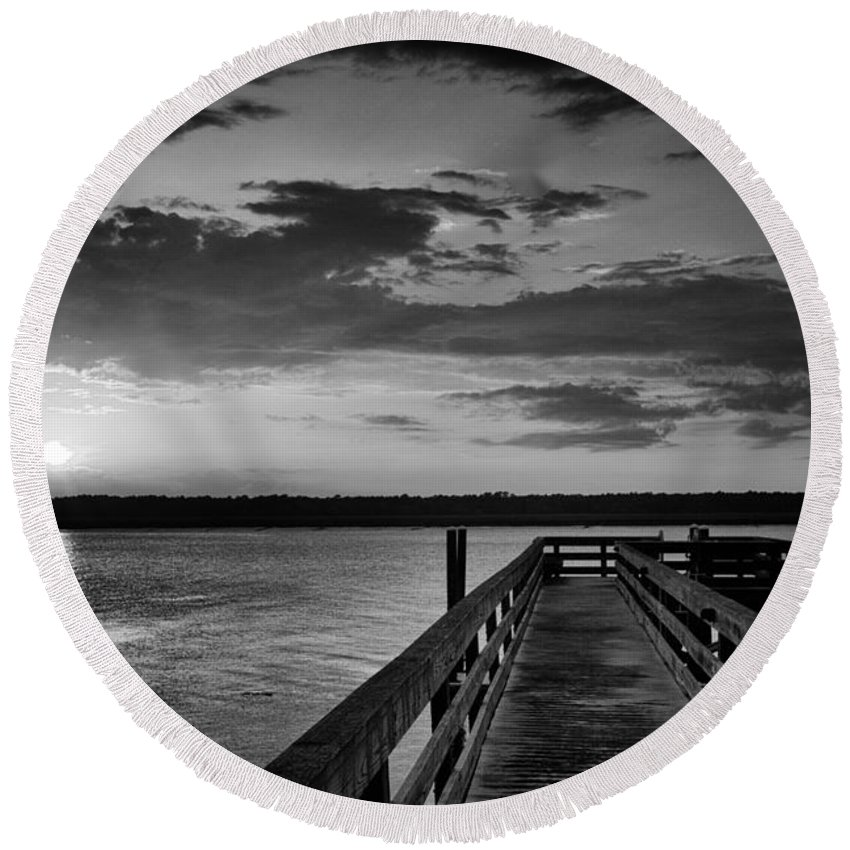 Beaufort County Round Beach Towel featuring the photograph On The Waterfront by Phill Doherty