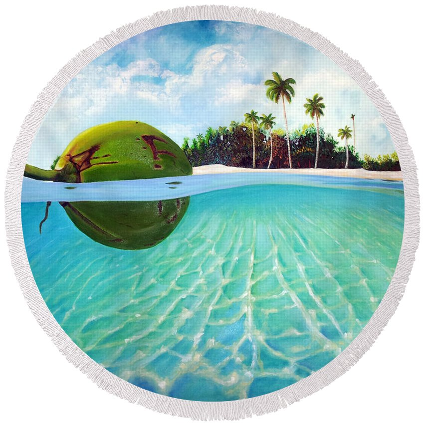 Coconut Round Beach Towel featuring the painting On The Way by Jose Manuel Abraham