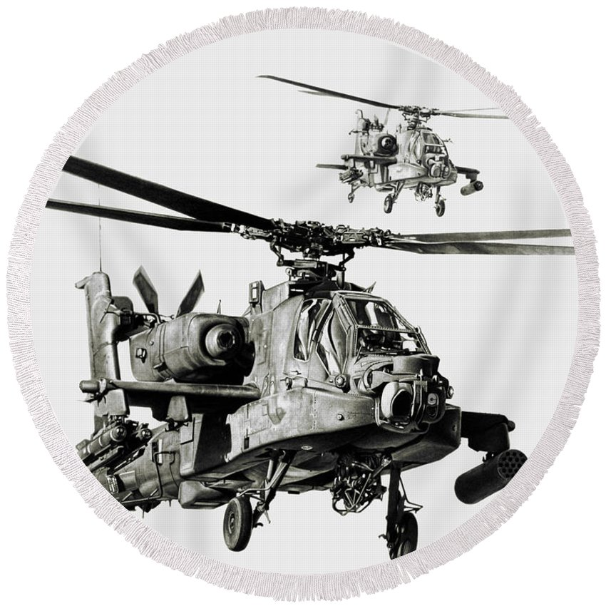 Attack Helicopter Round Beach Towel featuring the drawing On The Way by Murray Jones