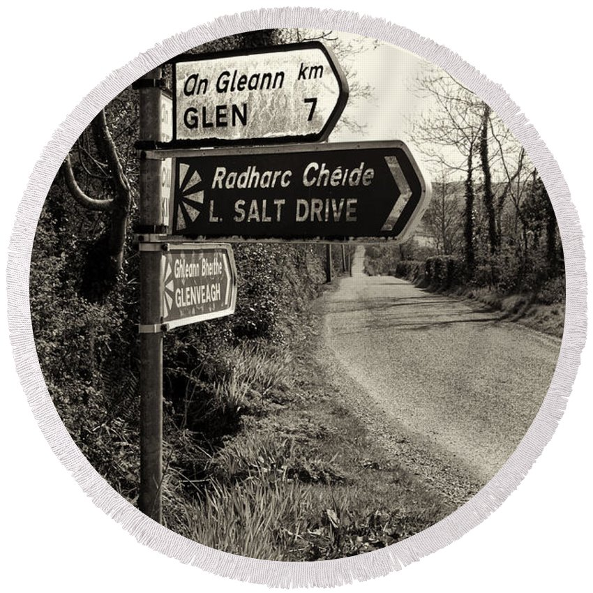 Way Round Beach Towel featuring the photograph On The Way To Lough Salt - Donegal Ireland In Sepia by Bill Cannon