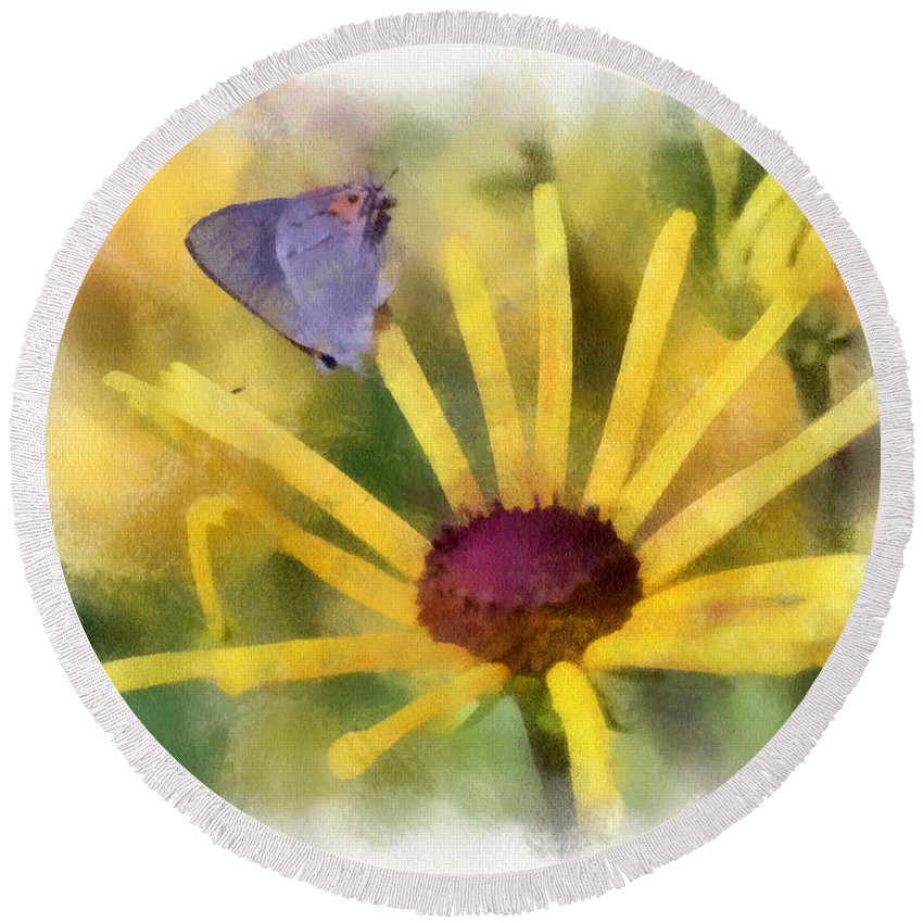 Butterfly Round Beach Towel featuring the photograph On The Yellow by Kerri Farley