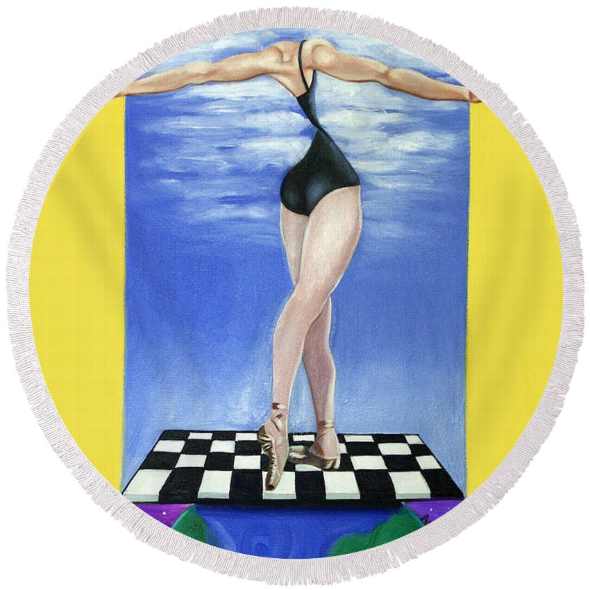 On Top Of The World Round Beach Towel featuring the painting On Top Of The World by Anthony Falbo