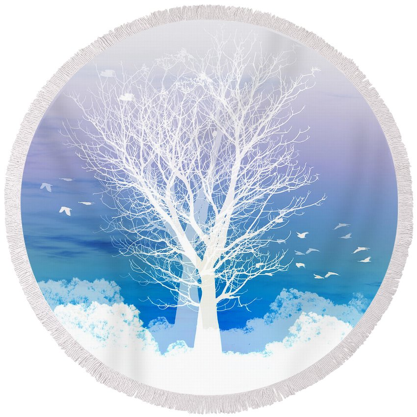 Tree Round Beach Towel featuring the photograph Once Upon A Moon Lit Night... by Holly Kempe