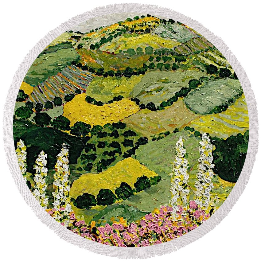 Landscape Round Beach Towel featuring the painting One More Smile by Allan P Friedlander