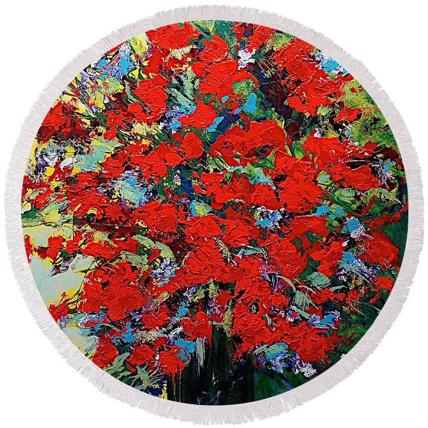 Landscape Round Beach Towel featuring the painting One Of A Kind by Allan P Friedlander