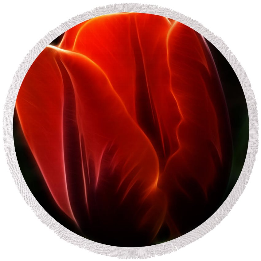 Tulip Round Beach Towel featuring the photograph One Red Tulip by Bob Christopher