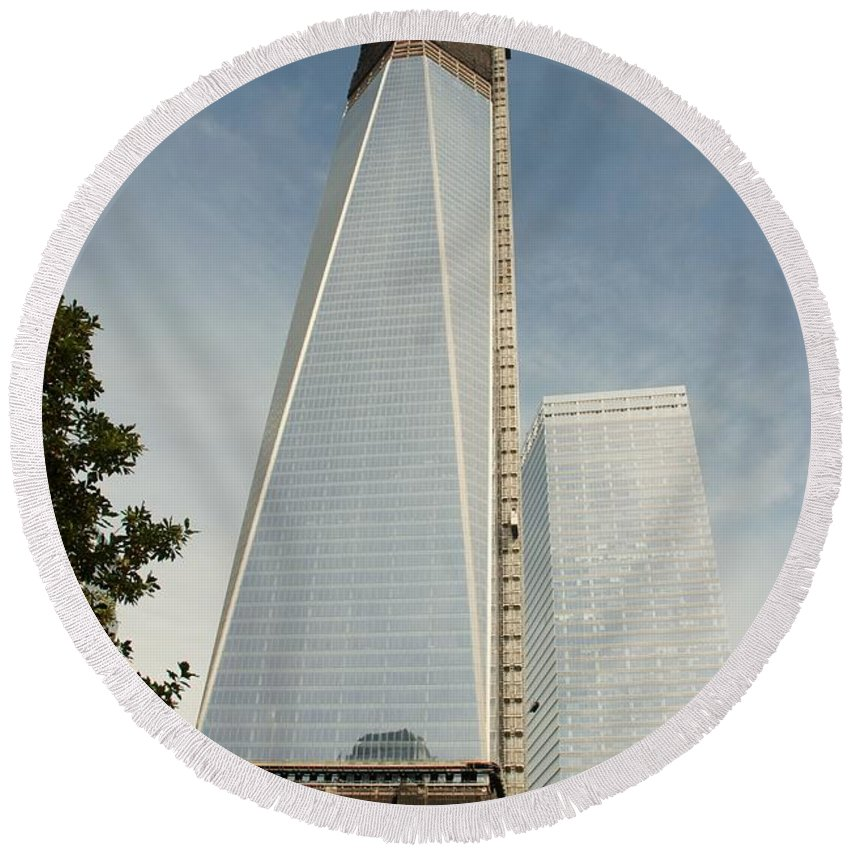 Wtc Round Beach Towel featuring the photograph One W T C by Rob Hans
