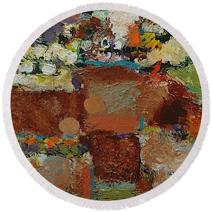 Landscape Round Beach Towel featuring the painting One Way by Allan P Friedlander