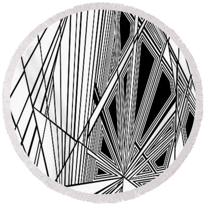 Dynamic Black And White Round Beach Towel featuring the painting Ongoing Skirmish by Douglas Christian Larsen