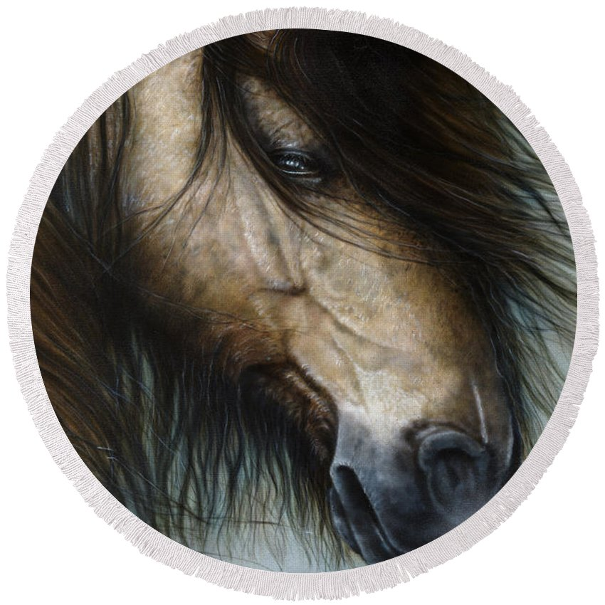Horse Round Beach Towel featuring the painting Only The Strong Survive I by Wayne Pruse