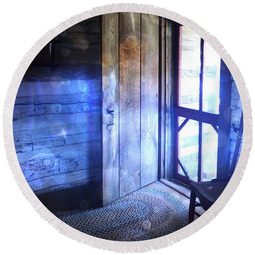 Cabin Round Beach Towel featuring the photograph Open Cabin Door With Orbs by Jill Battaglia