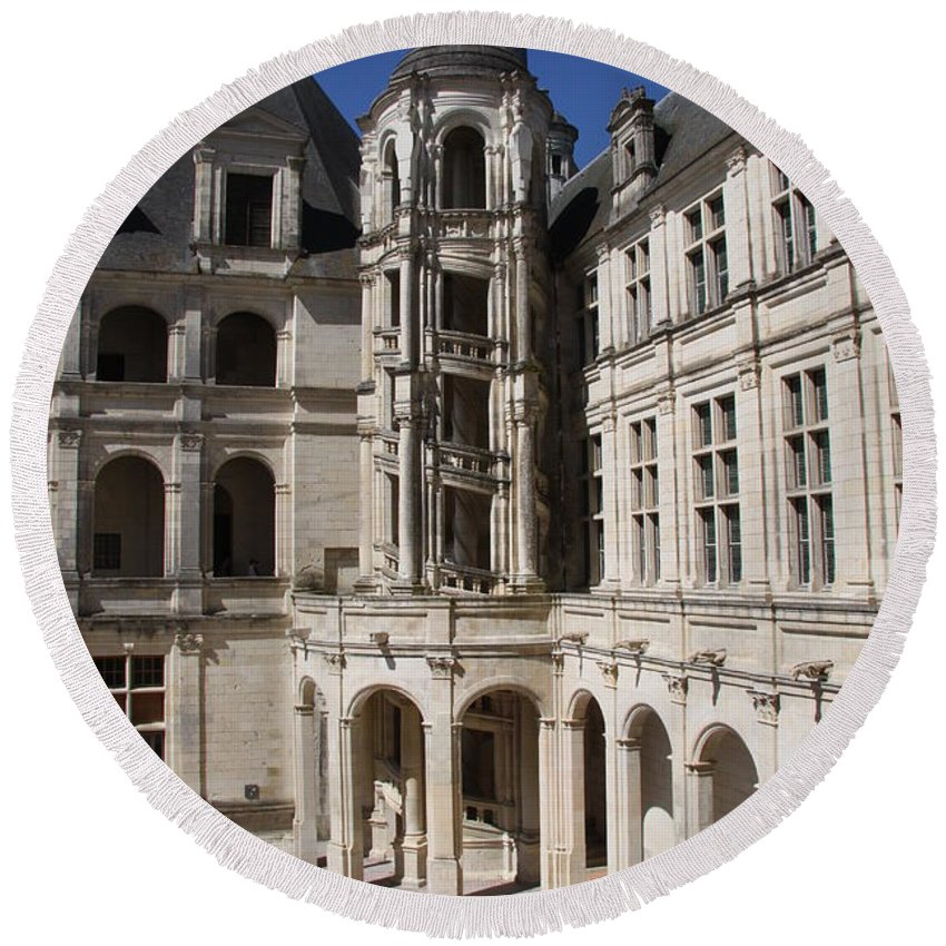 Palace Round Beach Towel featuring the photograph Open Staircase Chateau Chambord - France by Christiane Schulze Art And Photography