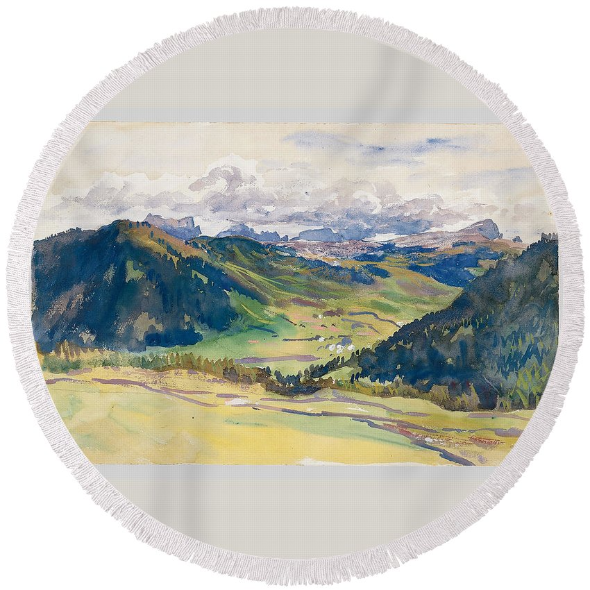 John Singer Sargent Round Beach Towel featuring the painting Open Valley. Dolomites by John Singer Sargent
