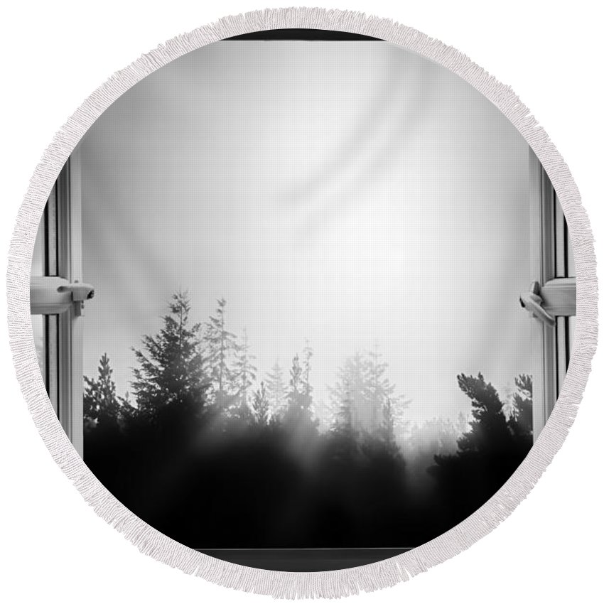 Window Round Beach Towel featuring the photograph Open Window At Night Bw by Simon Bratt Photography LRPS