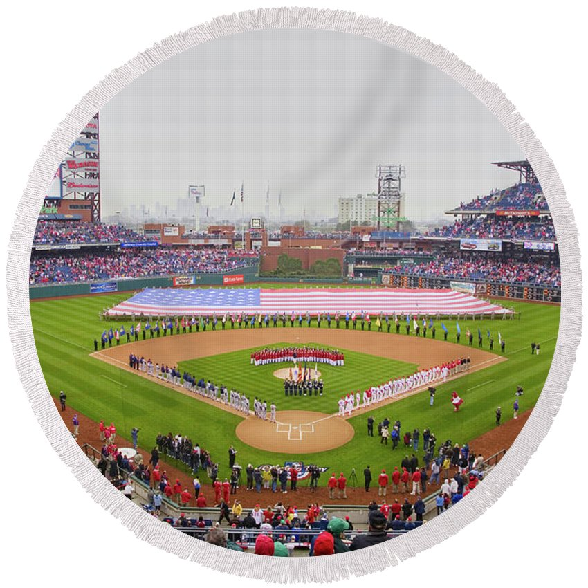 Photography Round Beach Towel featuring the photograph Opening Day Ceremonies Featuring by Panoramic Images