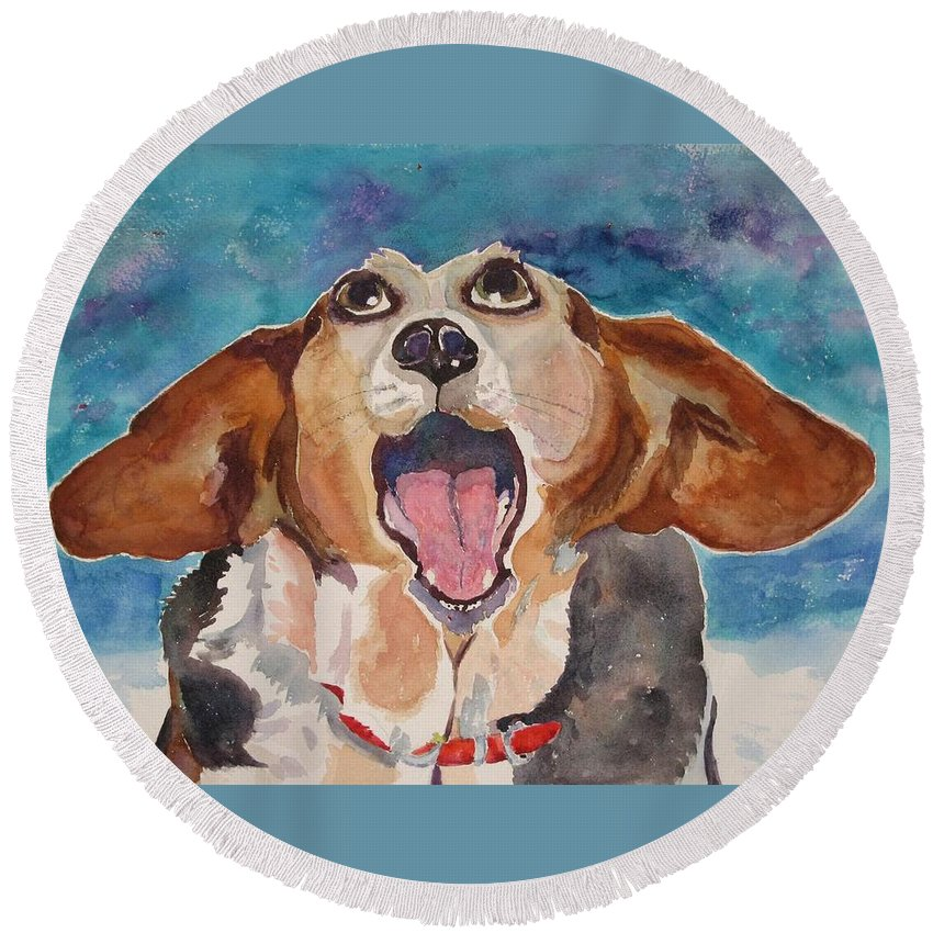 Basset Hound Round Beach Towel featuring the painting Opera Dog by Brenda Kennerly