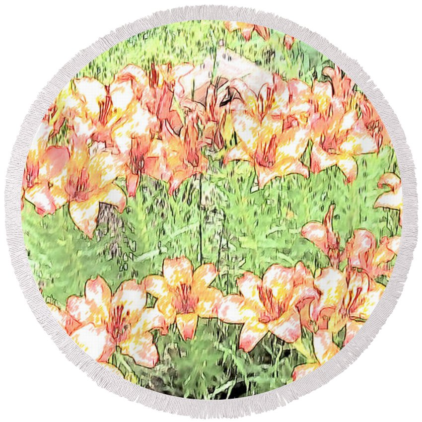 Floral Round Beach Towel featuring the photograph Orange Asiatic Lilies by Beverly Guilliams