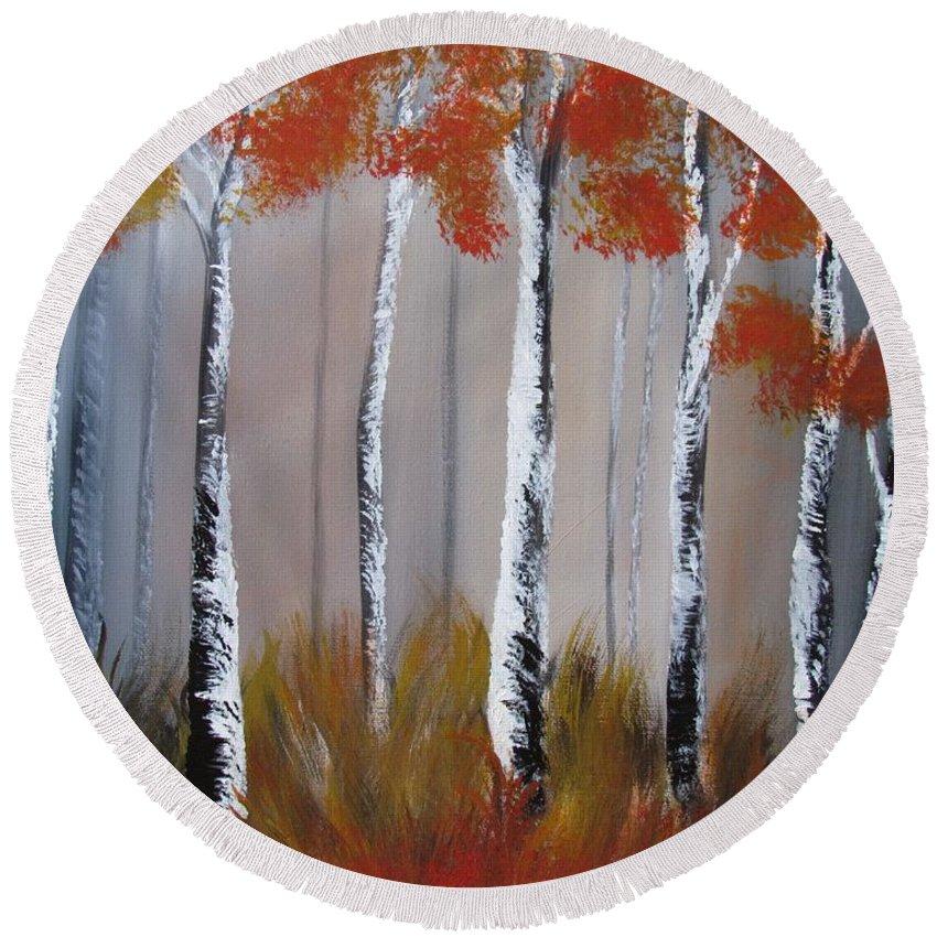 Birch Round Beach Towel featuring the painting Orange Birch One Piece by Mandy Joy