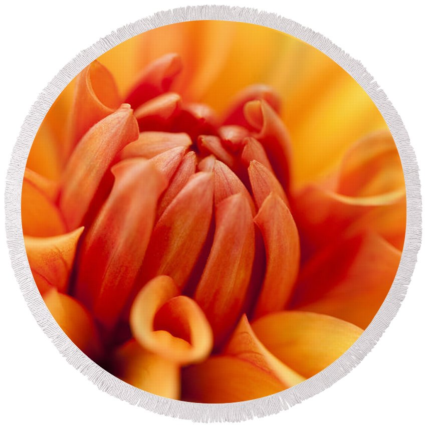Abstract Round Beach Towel featuring the photograph Orange Centre by Anne Gilbert