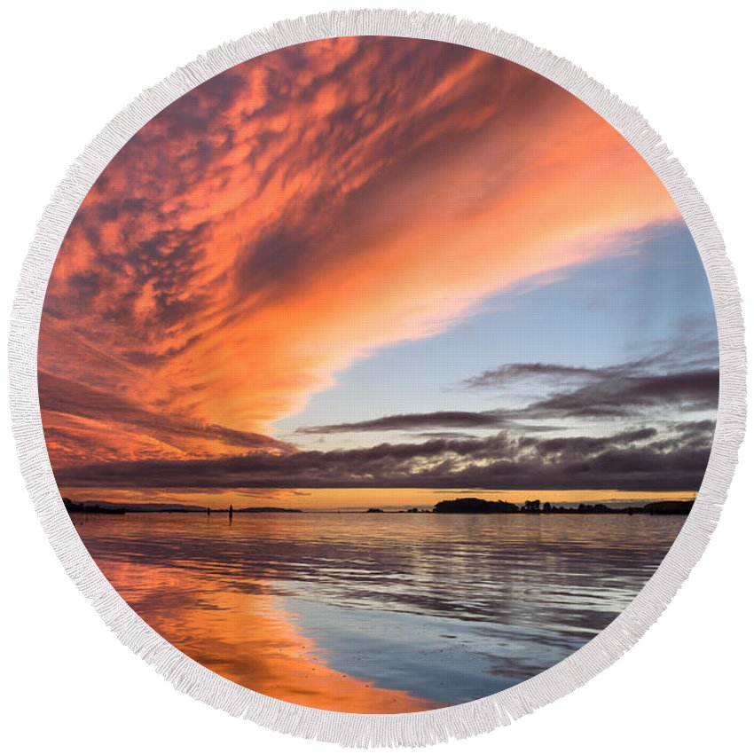 Dramatic Sky Round Beach Towel featuring the photograph Orange Clouds Over Humboldt Bay by Greg Nyquist