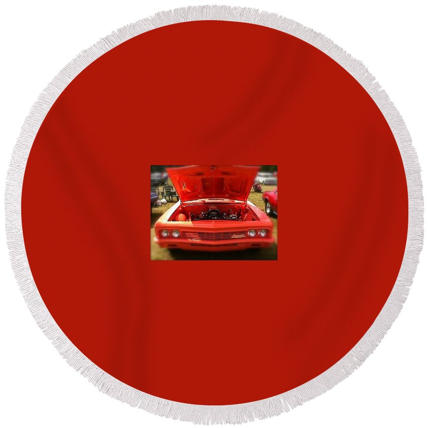 Chevrolet Round Beach Towel featuring the photograph Orange Color Chevrolet Car by Chris W Photography AKA Christian Wilson