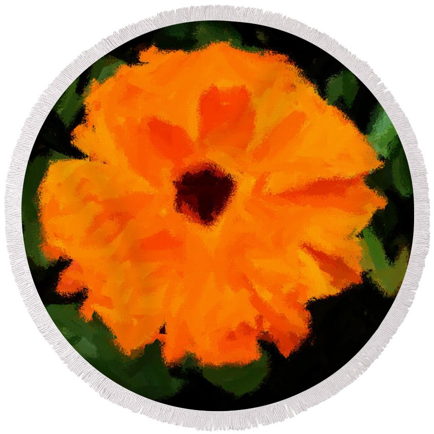 Fleur Round Beach Towel featuring the painting Orange Country Flowers - Impressionist Series by Doc Braham