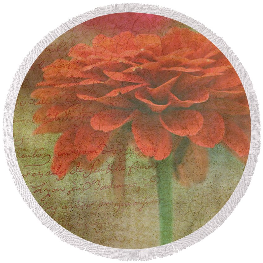 Orange Round Beach Towel featuring the photograph Orange Floral Fantasy by Kay Novy