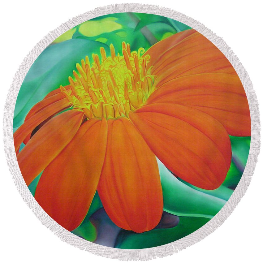 Flowers Round Beach Towel featuring the painting Orange Flower by Joshua Morton