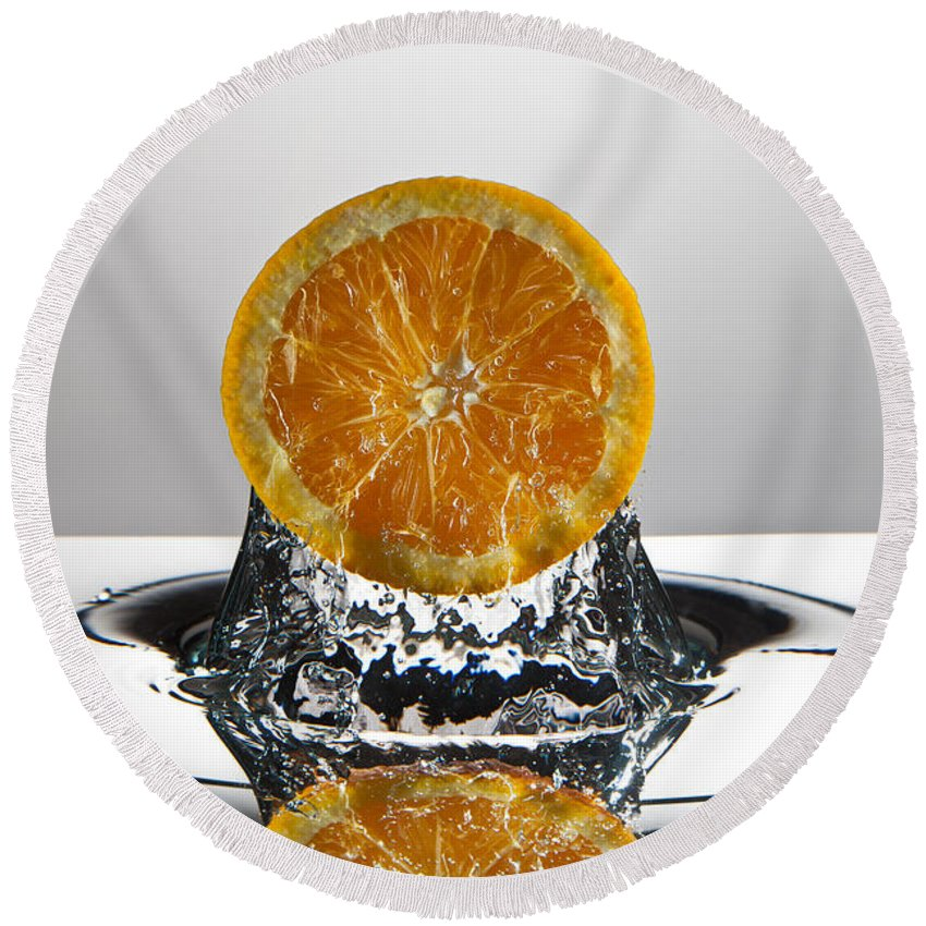 Orange Round Beach Towel featuring the photograph Orange Freshsplash by Steve Gadomski