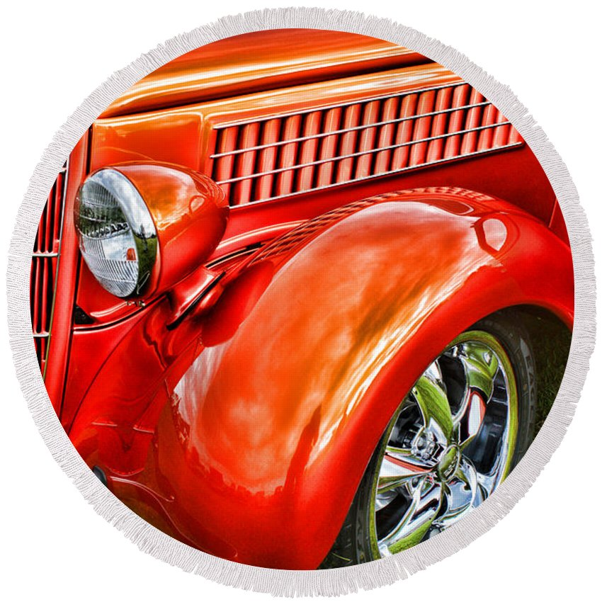 Cars Round Beach Towel featuring the photograph Orange Hood And Fender-hdr by Randy Harris