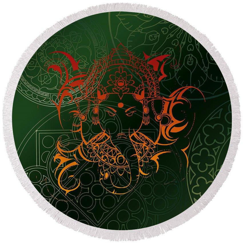 Lord Ganesha Round Beach Towel featuring the digital art orange Lord Ganesha on green Mandala by ReadyForYoga Online-Shop