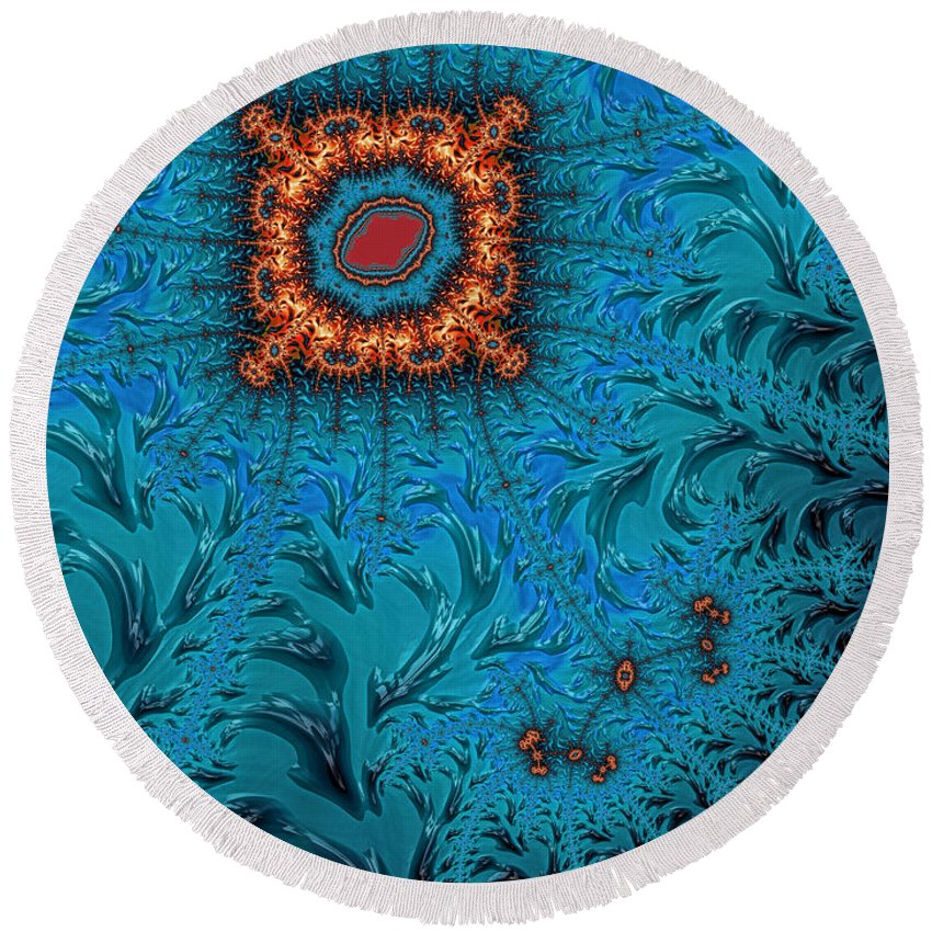 Orange Square Abstract Round Beach Towel featuring the digital art Orange On Blue Abstract by John Edwards