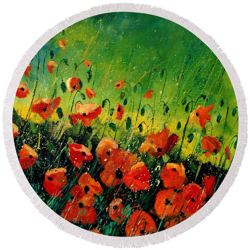 Poppies Round Beach Towel featuring the painting Orange Poppies by Pol Ledent