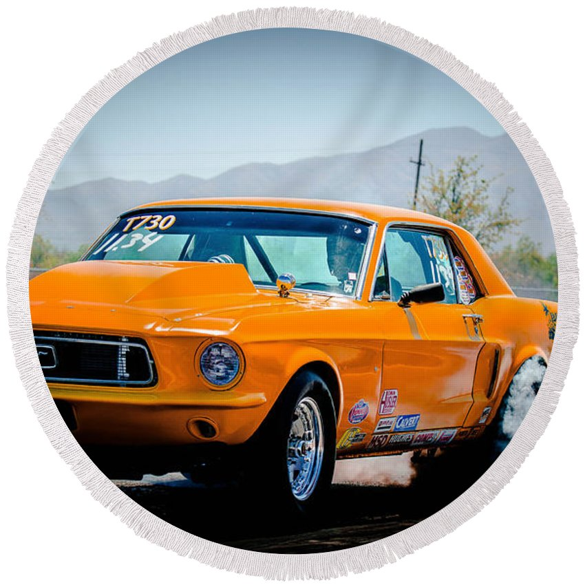 Orange Round Beach Towel featuring the photograph Orange Racing Mustang by Michael Moriarty