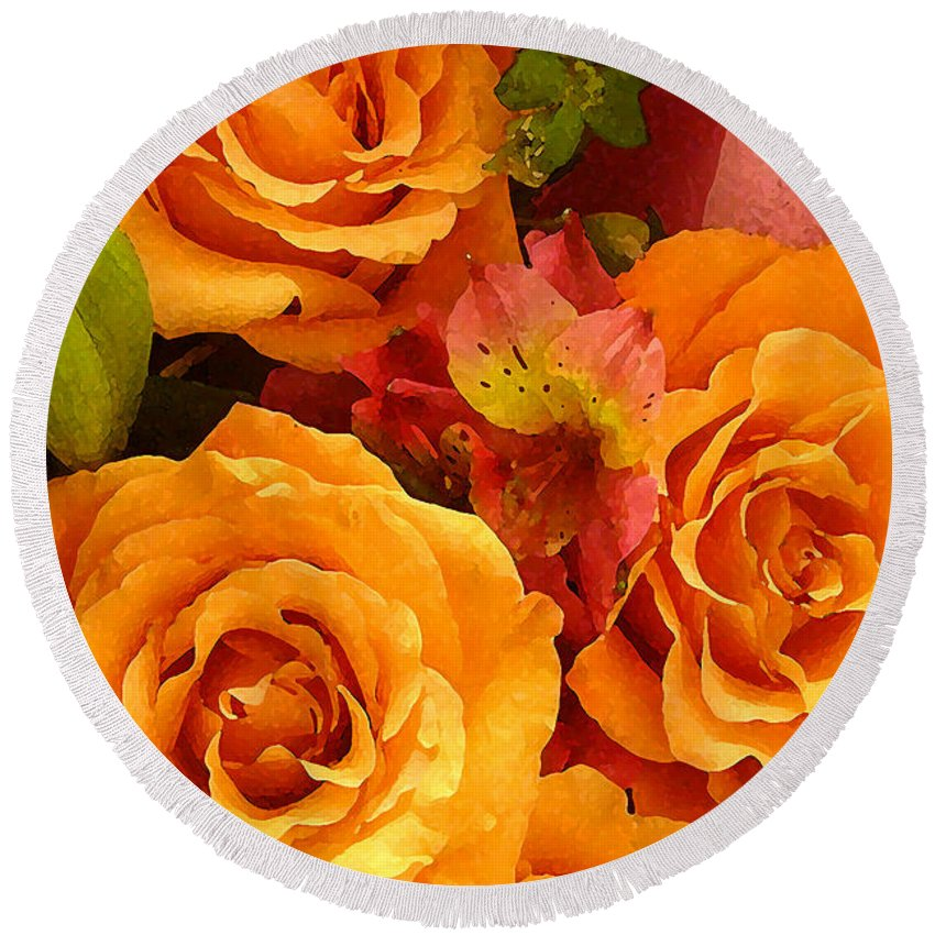 Roses Round Beach Towel featuring the painting Orange Roses by Amy Vangsgard