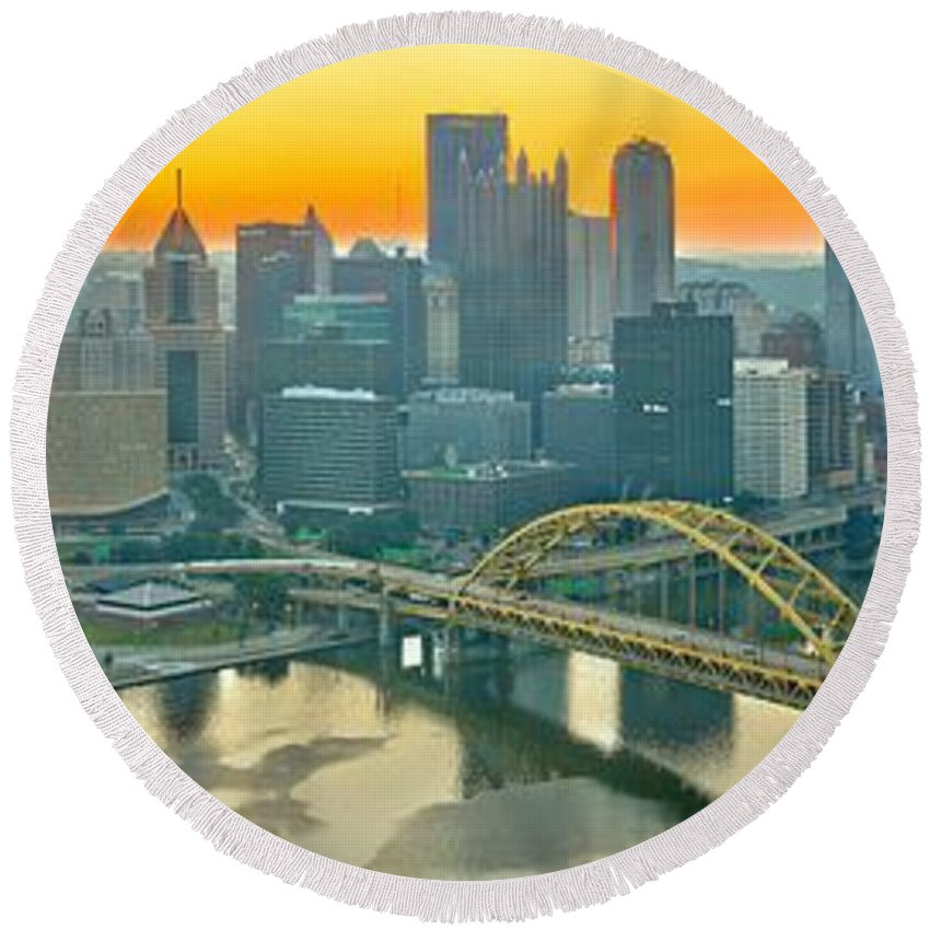 Duquesne Incline Round Beach Towel featuring the photograph Orange Skies And A Red Car by Adam Jewell
