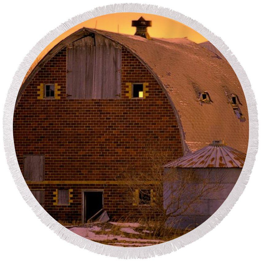 Rustic Round Beach Towel featuring the photograph Orange Sky Barn by Bonfire Photography