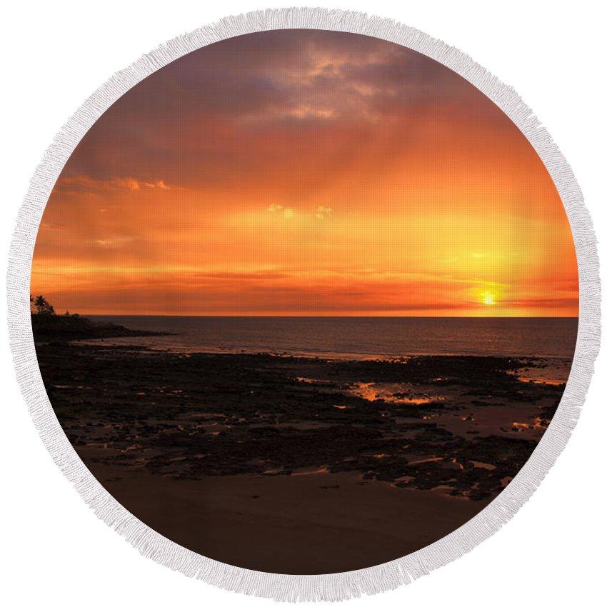 Orange Round Beach Towel featuring the photograph Orange Sky by Douglas Barnard
