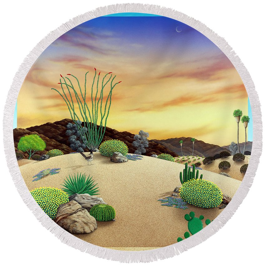 Desert Round Beach Towel featuring the painting Orange Sky Sunset by Snake Jagger