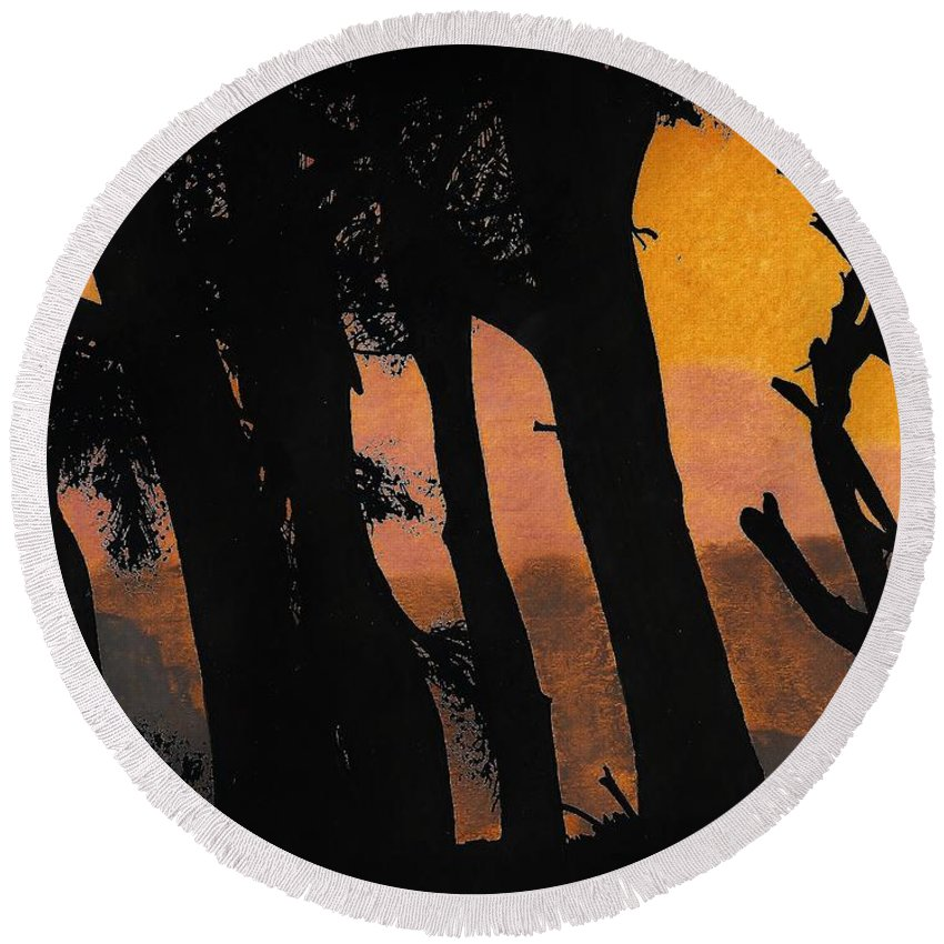 Sunset Round Beach Towel featuring the drawing Orange Sunset Forest by D Hackett