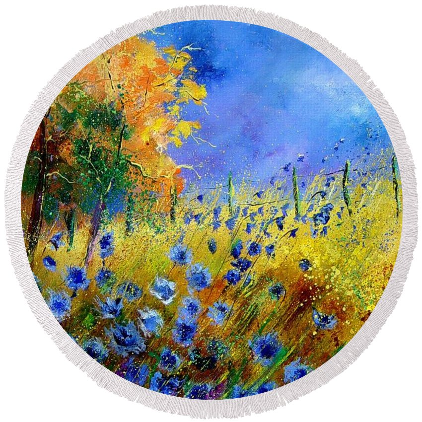 Poppies Round Beach Towel featuring the painting Orange Tree And Blue Cornflowers by Pol Ledent