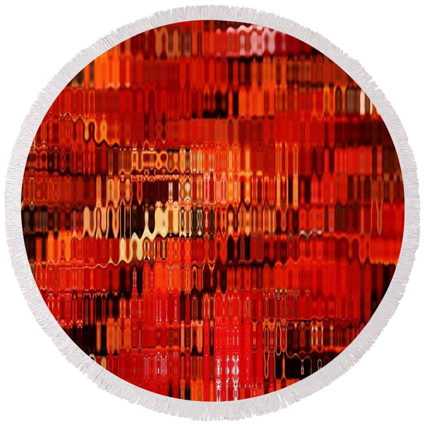 Abstract Round Beach Towel featuring the photograph Orange Under Glass Abstract by Carol Groenen