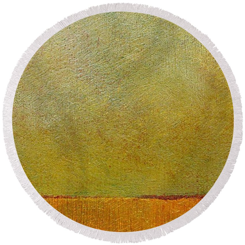 Abstract Landscape Round Beach Towel featuring the painting Orange With Red And Gold by Michelle Calkins